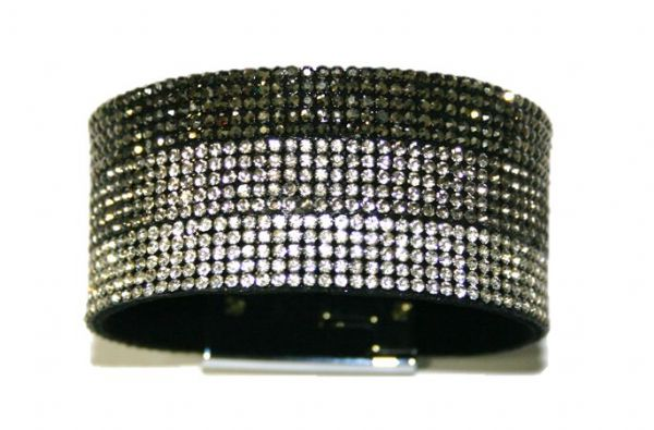 Diamante crystal bling cuff bracelet kit - Hematite/grey/clear -- 5000052